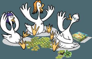 3 oies jouant au jeu Battle Sheep